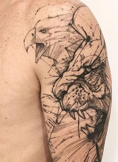 This simple tattoo of a snarling eagle and a cougar is meant to convey wild masculinity. The lack of color helps to keep the entire design subtle, which allows the tattoo to convey its aesthetics without resorting to unnecessary embellishments. Tattoos 3d, Trendy Tattoos, Body Art Tattoos, Small Tattoos, Tattoos For Guys, Cool Tattoos, Awesome Tattoos, Design Tattoo, Tattoo Designs
