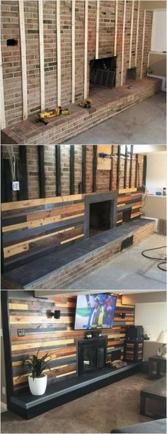 First we have the unique looking wood pallet wall paneling fire place! This idea is best to add your living room area with the creative impressions. The length of the fire place depends on your needs and requirements. To can even paint the wood pallet wit Casas Containers, Pallet Furniture, Pallet Walls, Pallet Wall Bedroom, Pallet Fireplace, Fireplace Remodel, Furniture Projects, Fireplace Wall, Pallet Stairs