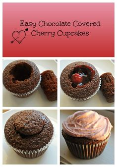 Chocolate Covered Cherry Cupcakes Snack ideas for Camera Club. Baking Cupcakes, Cupcake Recipes, Baking Recipes, Cupcake Cakes, Dessert Recipes, No Bake Treats, Yummy Treats, Delicious Desserts, Sweet Treats