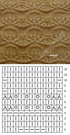 Lace knitting pattern ~~ Sea Shells by the sea shore Lace Knitting Patterns, Knitting Stiches, Knitting Charts, Lace Patterns, Loom Knitting, Knitting Designs, Crochet Stitches, Hand Knitting, Stitch Patterns
