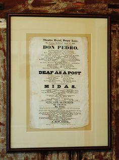 Rare Antique Theater Playbill 1828 Theatre by CobblestonesVintage
