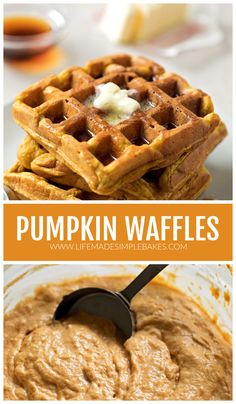 Waffle Toppings, Waffle Recipes, Breakfast Items, Breakfast Recipes, Pumpkin Recipes, Fall Recipes, Pumpkin Spice Waffles, Pumpkin Butter, Recipe Of The Day