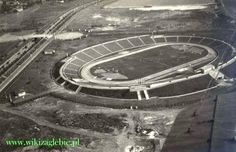 Zagłębie Sosnowiec's Stadion Ludowy (People's Stadium) from above soon after it was built