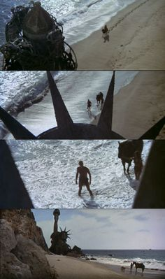 Taylor, played by Charlton Heston finds the Statue of Liberty and the awful truth in Planet of the Apes 1968. An iconic Hollywood scene.