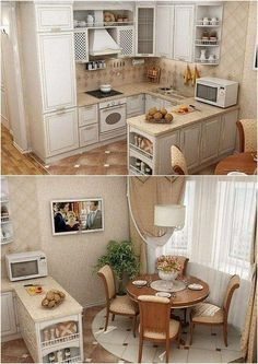 Tiny House Cabin, Kitchen Interior, Home Interior Design, Mini Kitchen, Kitchen Nook, Kitchen Layout, Kitchen Design, Kitchen Decor, Kitchen Cupboard Doors