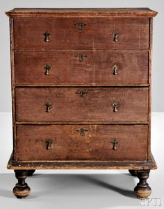 Skinner's Auction: 2961B 11/19/16 Lot: 24. Estimate: $4K-6K. Realized:$7,380. Description: Red-stained Poplar Chest over Drawers, possibly Ct, c. 1710-30, the molded lift-top opens to a well, above a double arch-molded case of 2 false $ 2 working drawers, the base with applied molding & tall turned ball feet, replaced brasses, original surface, ht. 44, wd. 32, dp. 20 1/2 in. Provenance: Rich Razzo, Chatham, New York; Charles Santore. The Janie & Peter Gross Collection.