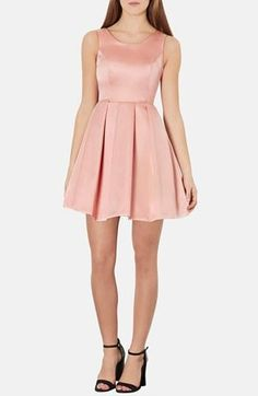 Too cute! Pink Satin Fit & Flare Dress
