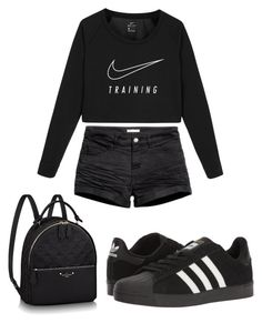 """#black!"" by cosetteaubertd on Polyvore featuring moda, NIKE, H&M y adidas"