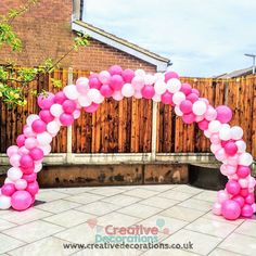 Pink and white balloon arch for garden parties Small Balloons, Number Balloons, Letter Balloons, White Balloons, Balloon Wall, Balloon Arch, Retirement Parties, Birthday Parties, Gender Reveal Balloons