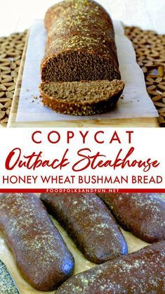 Honey Wheat Bushman Bread Recipe Now you can skip the steakhouse and make this Copycat Outback Bread at home! This Honey Wheat Bushman Bread. Bread And Pastries, Bushman Bread Recipe, Bread Machine Recipes, Bread Machine Wheat Bread Recipe, Bread Dough Recipe, No Yeast Bread, Artisan Bread Recipes, Yeast Bread Recipes, Bagels