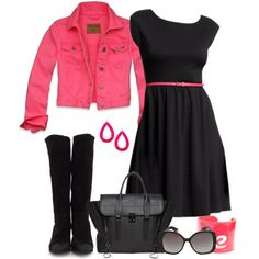 """Black and Hot Pink"" by pamnken on Polyvore----Yes I know hot pink or a leather biker jacket or a jean jacket :)"