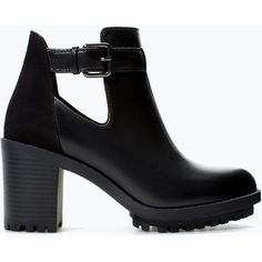 Zara Open Track Sole Bootie (43 BRL) ❤ liked on Polyvore featuring shoes, boots, ankle booties, zara, ankle boots, heels, black, black heel bootie, zara boots and black bootie