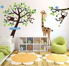 For a boy - Monkey Tree Giraffe And Branch Wall Sticker - painting & decorating
