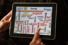 "Word Mess: find words that rhyme with ""bang"""