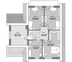 Projekt domu Milena 122,9 m2 - koszt budowy 208 tys. zł - EXTRADOM Traditional House, House Plans, Floor Plans, How To Plan, Projects, Design, Modern, Log Projects, Blue Prints