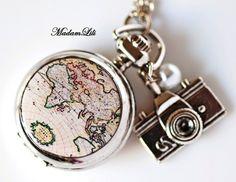 Uhr ♥ Globetrotter II ♥ Silber Mini Uhrenkette  von MadamLili® ♥ Nostalgieschmuck für Romantiker ♥ Das Original seit 2009 auf DaWanda.com