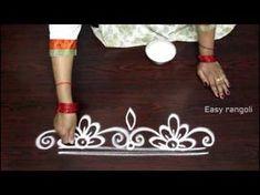 simple rangoli designs with dots - small kolam designs - muggulu designs - YouTube
