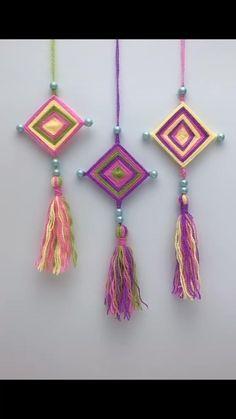 Diy Crafts For Home Decor, Diy Crafts Hacks, Diy Crafts For Gifts, Diy Arts And Crafts, Yarn Crafts For Kids, Crochet Flower Tutorial, Diy Crochet, Bracelet Crafts, Diy Dream Catcher For Kids