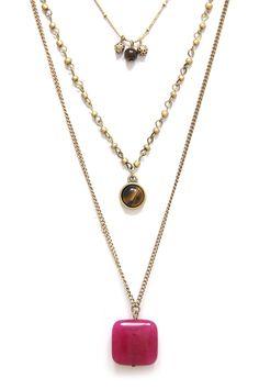 3 Layer Square Stone Pendant Drop Chain Necklace