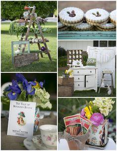 Beatrix Potter Spring Garden Party via Kara's Party Ideas | Cake, decor, cupcakes, games and more! KarasPartyIdeas.com #springparty #gardenp...