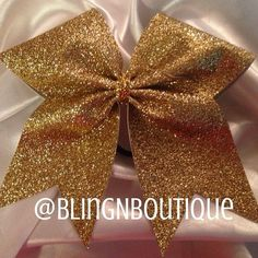 gold-rush-gold-glitter-vinyl-cheer-bow from BlingNBoutique. Sparkly Cheer Bows, Cute Cheer Bows, Cheer Hair Bows, Big Bows, Cheer Mom, Softball Bows, Cheerleading Bows, Cheer Stunts, Cheer Dance