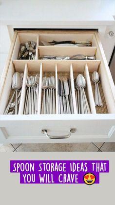 Kitchen Utensil Storage, Utensil Drawer Organization, Diy Kitchen Cabinets, Kitchen Cabinet Organization, Kitchen Drawers, Kitchen Furniture, Organization Ideas, Kitchen Utensils, Kitchen Ideas