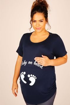 """BUMP IT UP MATERNITY Navy Top With White Glitter """"Baby On Board"""" Print"""