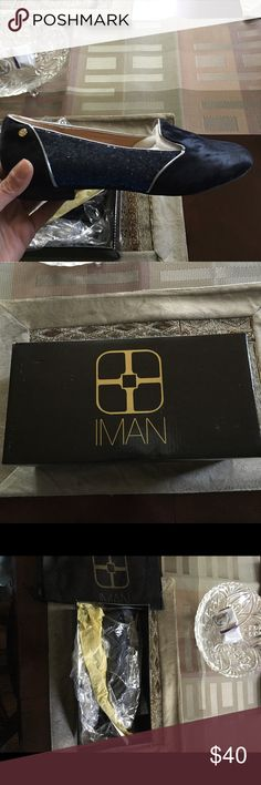 IMAN Flats New in box with dust bag. Never worn. Faux animal print with sequins. Blue and black. Shoes Flats & Loafers