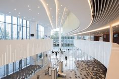 One of the most modern music venues in the world, the Zaryadye Concert Hall in Moscow, Russia, has recently opened its doors and incorporates two performance halls and a recording studio. Foyer Design, Stage Design, Wardrobe Wall, Hall Lighting, Mall Design, Hall Interior, Concert Hall, Recording Studio, Halle