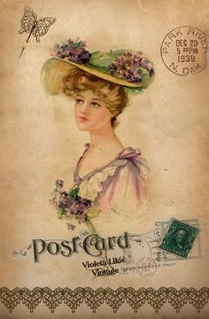 Violeta lilás Vintage: Post Cards: Vintage lady in straw hat with violets & pink dress with violet bouquet,stamp,butterfly,postmark.