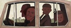 John Brack / The Car / 1955 / oil on canvas / National Gallery of Victoria Australian Painting, Australian Artists, Art Database, Modern Artists, 2d Art, Aboriginal Art, Cool Artwork, Famous Artwork, Contemporary Paintings