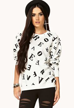 Mixed Letters Sweatshirt | FOREVER21 - 2000051438 $17.80