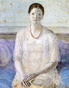 The Athenaeum - Portrait of a Girl with a Hand Mirror (Frederick Carl Frieseke - )