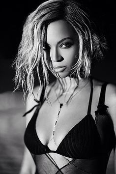 Beyonce's hair in her Drunk In Love Music video. Short, a-line, beachy, textured