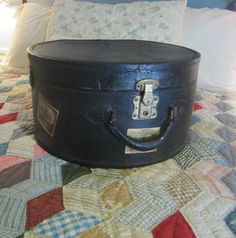 Antique 1910 Hatbox Luggage Case Black with original lining and travel stickers by VintageSouthernPicks