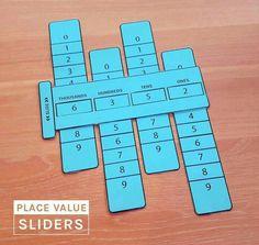 Place Value Sliders - Math Learning Aid by The Novel Classroom Math For Kids, Fun Math, Math Games, Math Activities, Maths, Math Fractions, Math Classroom, Kindergarten Math, Teaching Math