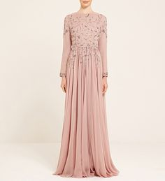 Dusty Pink And Silver Embellished Dress - $484.99 : Inayah, Islamic Clothing & Fashion, Abayas, Jilbabs, Hijabs, Jalabiyas & Hijab Pins