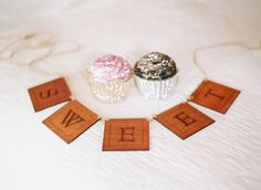 with candles instead of cupcakes and scrabble tiles instead of big wooden things