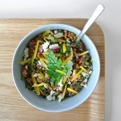 Today: lentil salad with goat cheese and lemon  #healthy #food #salad #lentil #fitnessmeal #cooking #yummy #healthyfood #lemon #instafood #dinner #fresh #taste #delicious #foodpic