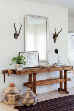 Scandinavian-style family home. Entry way with an antique work bench and Philippe mirror. Interior design: Fran Keenan of Fran Keenan Design. Home Decor Bedroom, Entryway Decor, Entryway Ideas, Interior Design Inspiration, Home Interior Design, Modern Decor, Rustic Decor, Entrance Hall Tables, Wood