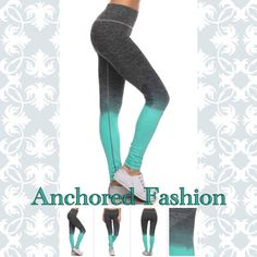 ⚓️Teal and Grey Ombré Legging⚓️ These great quality leggings are moisture wicking and fit true to size. 88% Nylon 12% Spandex. All of my customers have rated these leggings five stars! Available in size S/M and size LG/XL. Please let me know what size and color you would like and I will create a custom bundle for you. I do discounted bundles, Pants Leggings