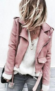 pink leather jacket. everyday street style. Yessss!!! Pink leather!!! Hell yes!!