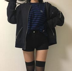 Korean fashion ulzzang inspiration asian style 2017 34 - YS Edu Sky Korean Fashion Ulzzang, Korean Outfits, Asian Fashion, Look Fashion, Fashion Outfits, Korean Fashion Shorts, Fashion Black, 90s Fashion, Fitness Fashion