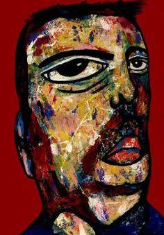 "Saatchi Art Artist CARMEN LUNA; Painting, ""30-RETRATOS Expresionistas. El comerciante."" #art http://www.saatchiart.com/art-collection/Painting-Assemblage-Collage/Expressionist-Portrait/71968/51263/view"