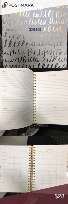 Kate spade 2018 planner This is VERY slightly used. I wrote in October and November but most of the rest of the planner is empty. I started writing it and decided I needed something different. It's very cute, stylish and small enough for most purses. Other