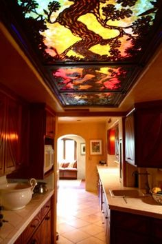 Art nouveau kitchen - look at the ceiling!!