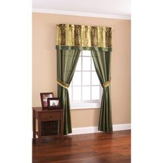 Mainstays Green and Gold 5-Piece Window Panel Set