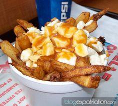 La poutine est un mets d'origine québécoise constitué de frites et de fromage en grains que l'on recouvre généralement d'une sauce brune.