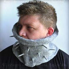 Scarf, Men Gray, Wool Felted, Cowl, Neckwarmer Spikes Spears Eco friendly Urban Military Designer FREE SHIPPING by TianaCHE on Etsy https://www.etsy.com/listing/57471151/scarf-men-gray-wool-felted-cowl