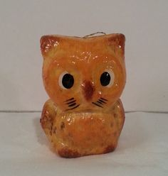 Vintage 1970s Owl shaped Christmas ornaments Painted like Bread Foam Kitsch